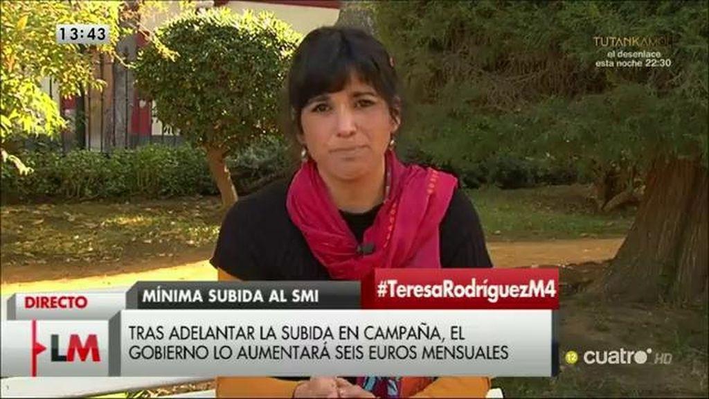 """T.Rodríguez: """"Creo que el PSOE no se siente nada cómodo hablando con Podemos, nosotros hemos tomado la iniciativa"""""""