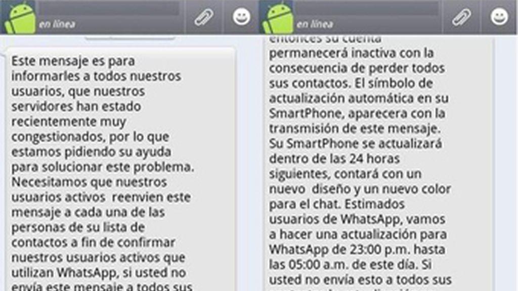 El falso mensaje que están recibiendo los usuarios de Whatsapp que les comunica la cancelación de su cuenta y que invita a reenviarlo  a sus contactos.