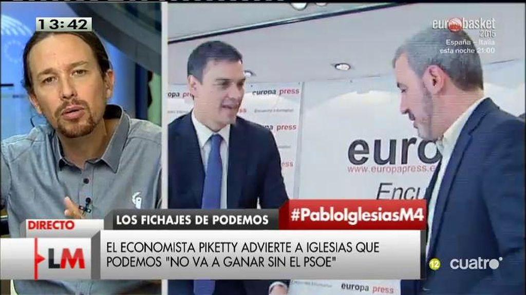 """Pablo Iglesias: """"El PSOE cambia cuando Podemos está por encima"""""""