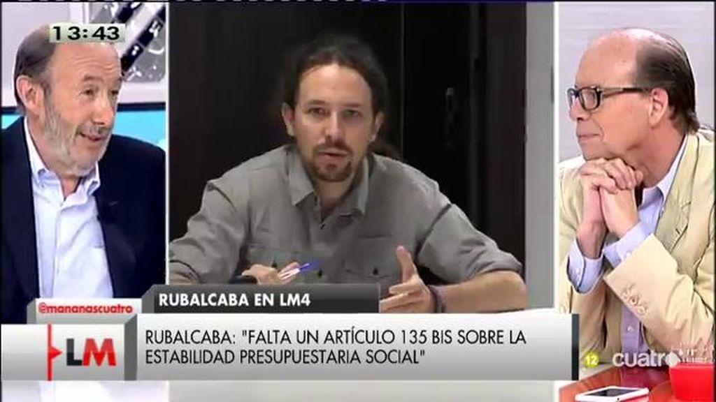 """Rubalcaba: """"Pablo Iglesias no quiere asaltar el cielo, quiere asaltar el espacio del PSOE"""""""