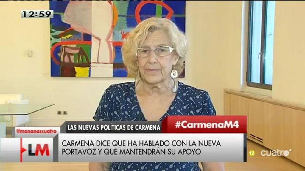 "Carmena: ""La portavoz del PSM me confirma que mantendrá la misma postura de apoyo"""