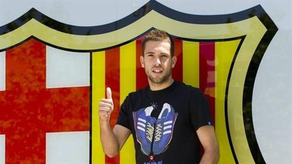 Jordi Alba en su presentación con el Barcelona