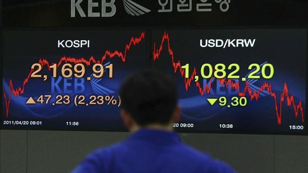 Un agente de bolsa revisa el monitor en el Banco de Cambio en Seúl (Corea del Sur). EFE/Archivo