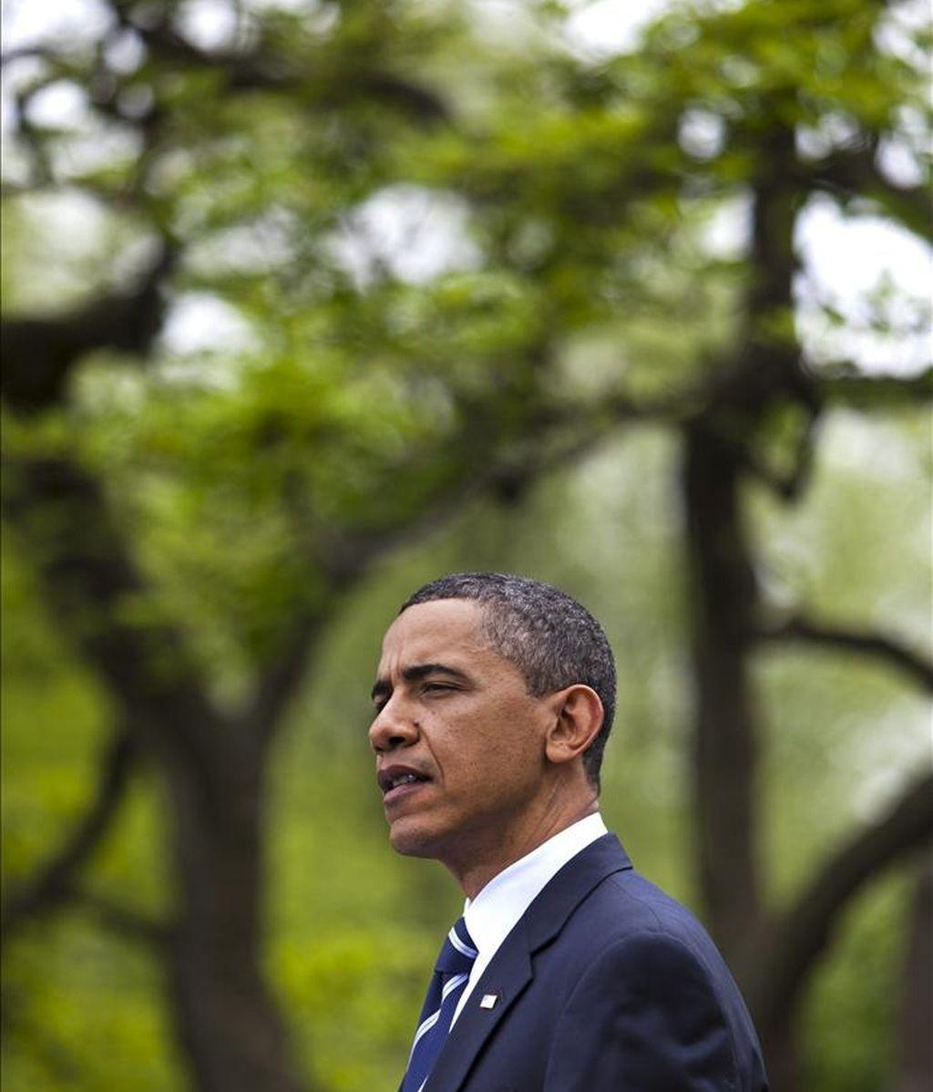 El presidente estadounidense, Barack Obama, ayer, 18 de abril de 2011, en la Rosaleda en la Casa Blanca en Washington DC, Estados Unidos. EFE