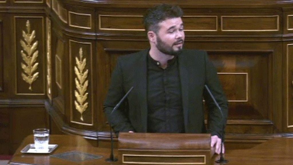 """Rufián a los socialistas: """"Traidores es el único nombre que merecen"""""""