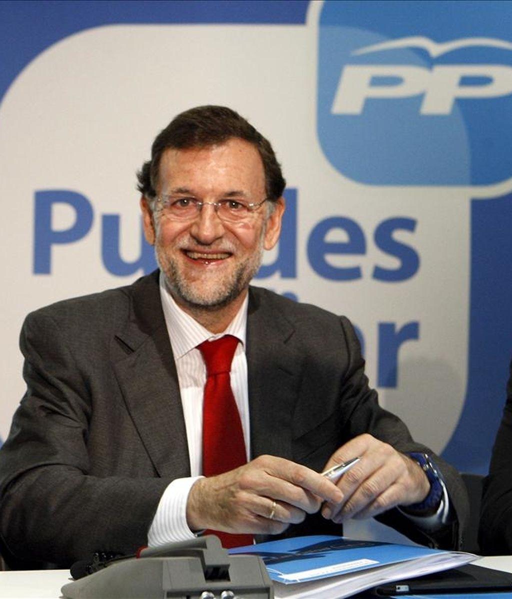 """El presidente del Partido Popular, Mariano Rajoy, durante la inauguración del Foro Europeo """"Reformas Presupuestaria y Agraria"""" que el partido ha organizado hoy en Madrid. EFE"""