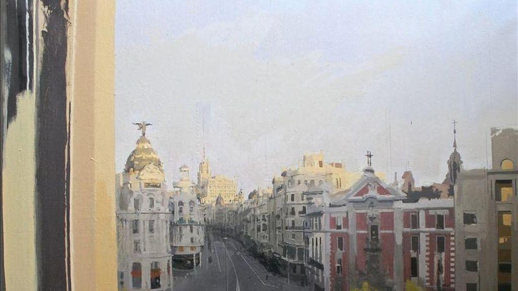 """Como un autorretrato o una visión de """"Antonio López según Antonio López """" definió durante una entrevista con Efe Guillermo Solana, director artístico del Museo Thyssen-Bornemisza, la exposición que este museo dedicará, a partir de junio, a uno de los artista españoles más importantes. En la imagen, el óleo sobre lienzo Gran Vía. EFE"""