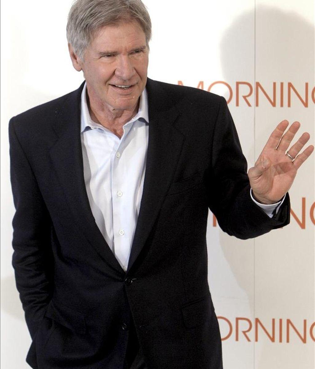 """El actor estadounidense Harrison Ford, durante la presentación de """"Morning Glory"""", un filme en el que saca a relucir sus menos conocidas habilidades cómicas bajo las órdenes del director de """"Notting Hill"""", Roger Michell, hoy en Madrid. EFE"""