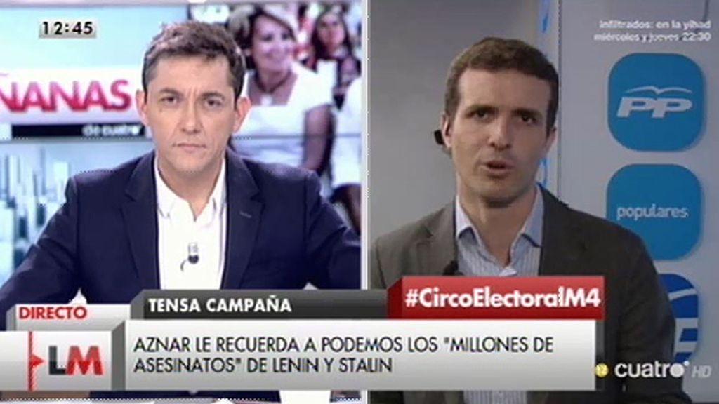 """Pablo Casado: """"Pablo Iglesias no puede dar lecciones a nadie y menos a Aznar"""""""