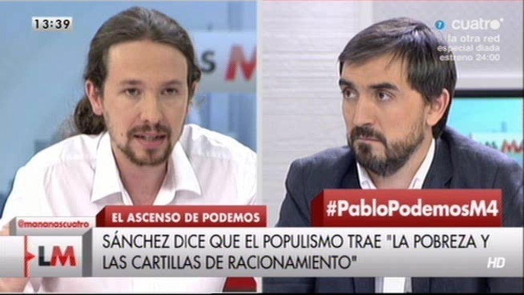 """Pablo Iglesias: """"Pedro Sánchez utiliza para atacar a Podemos palabra por palabra el discurso del PP"""""""