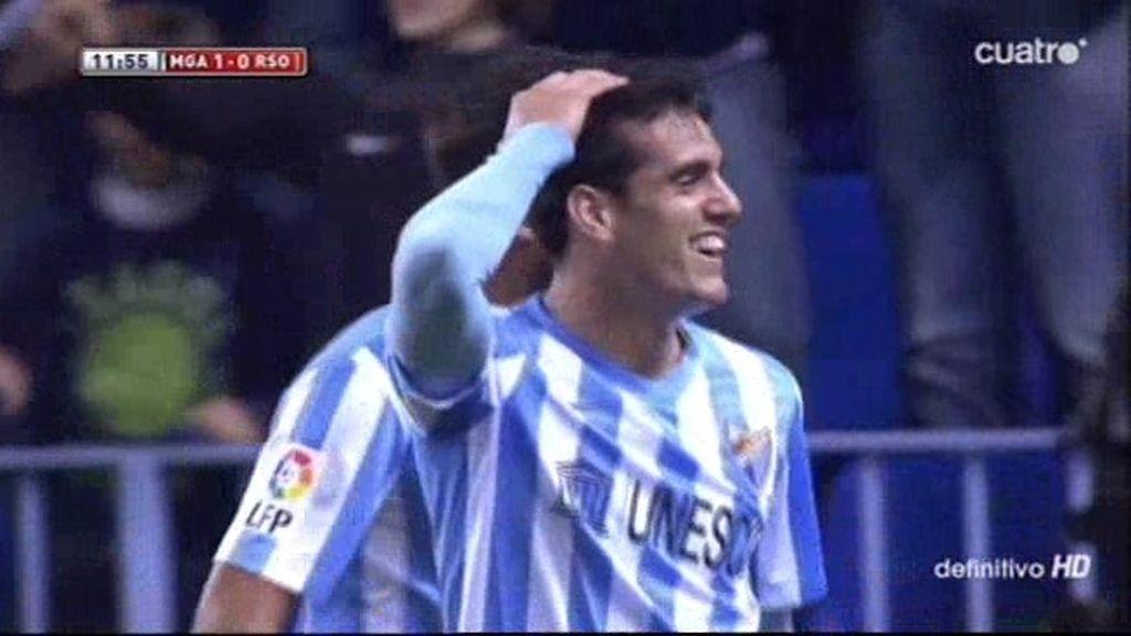 Los dos goles del Málaga a la R. Sociedad que no subieron al marcador de la Rosaleda