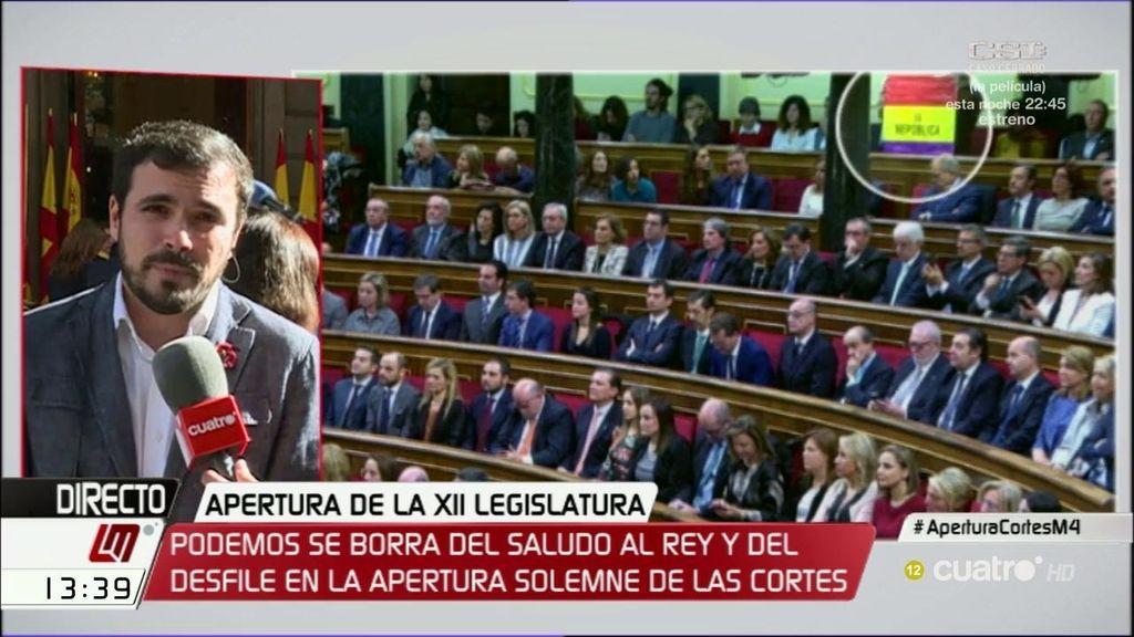 """Garzón, sobre la bandera republicana: """"Es una declaración de intenciones"""""""