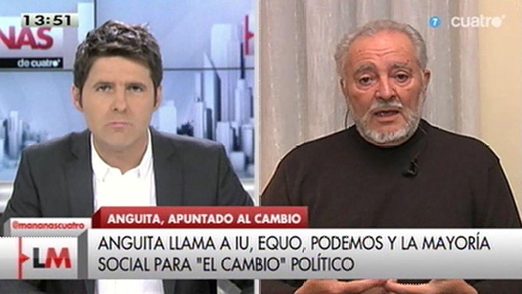 """Anguita: """"Los problemas son tan graves que no hay ningún partido que lo pueda resolver"""""""