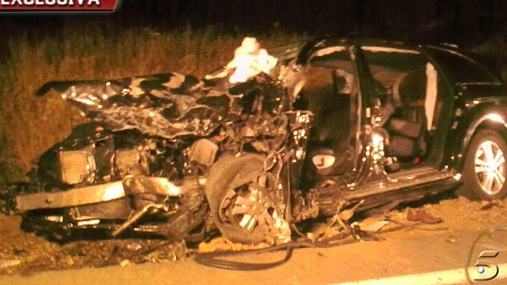 El coche de Ortega, tras el accidente
