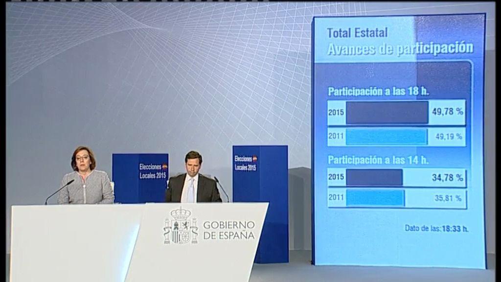 La participación a las 18.00h alcanza el 49,78%, ligeramente superior a 2011