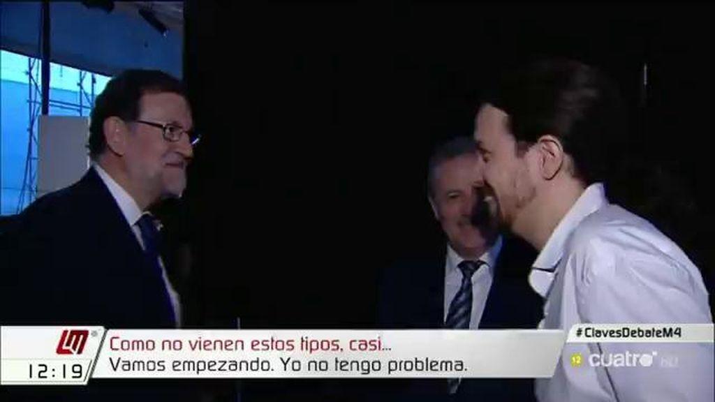 ¿De qué hablaron Iglesias y Rajoy mientras esperaban en el debate a cuatro?