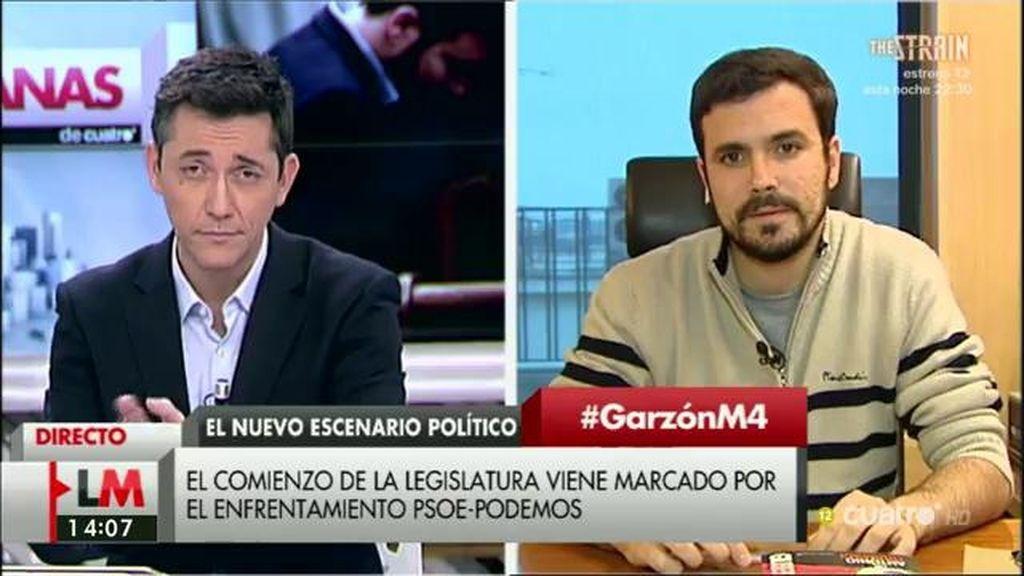 """Alberto Garzón, sobre un pacto de izquierdas: """"Nuestra apuesta es facilitarlo"""""""