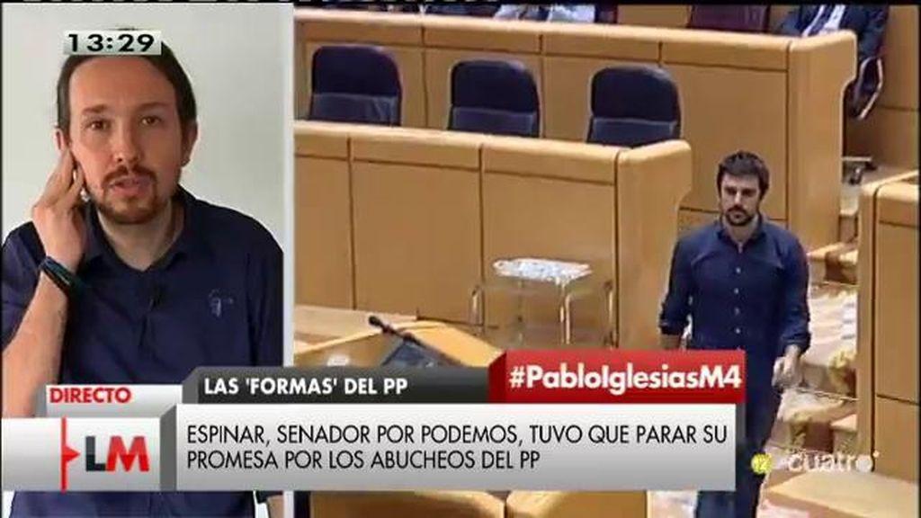 """Pablo Iglesias: """"Habría que recordar a los diputados del PP que el Senado no es un campo de fútbol"""""""
