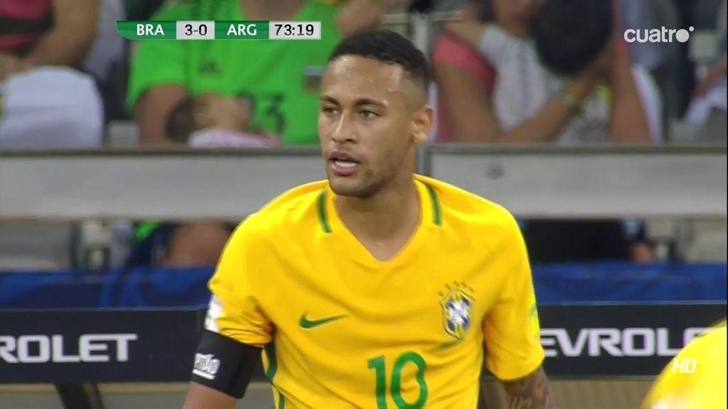 Tensión entre Mascherano y Neymar tras varias filigranas del brasileño con 3-0