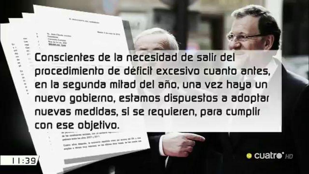 """La carta en que Rajoy señala su """"compromiso"""" con el cumplimiento de las reglas """"del pacto de estabilidad y crecimiento"""""""