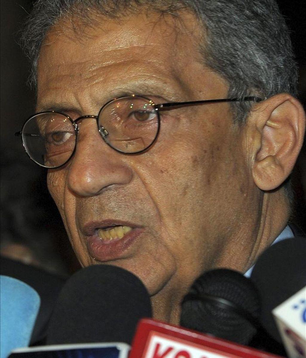 Egipto presentó hoy al vicepresidente del Parlamento Árabe, Mustafa el Fiki, exresponsable del Partido Nacional Democrático (PND, antiguo partido gobernante), como candidato a suceder al actual secretario general de la Liga Árabe, Amro Musa (en la imagen). EFE/Archivo