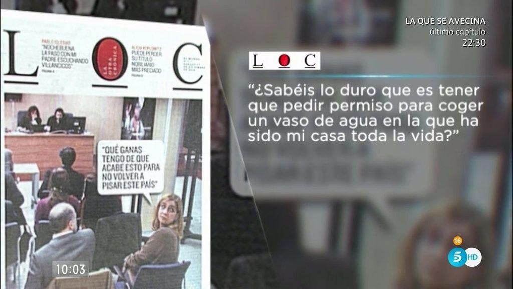 "Infanta Cristina: ""Estoy deseando que acabe esto para no volver a pisar este país"""
