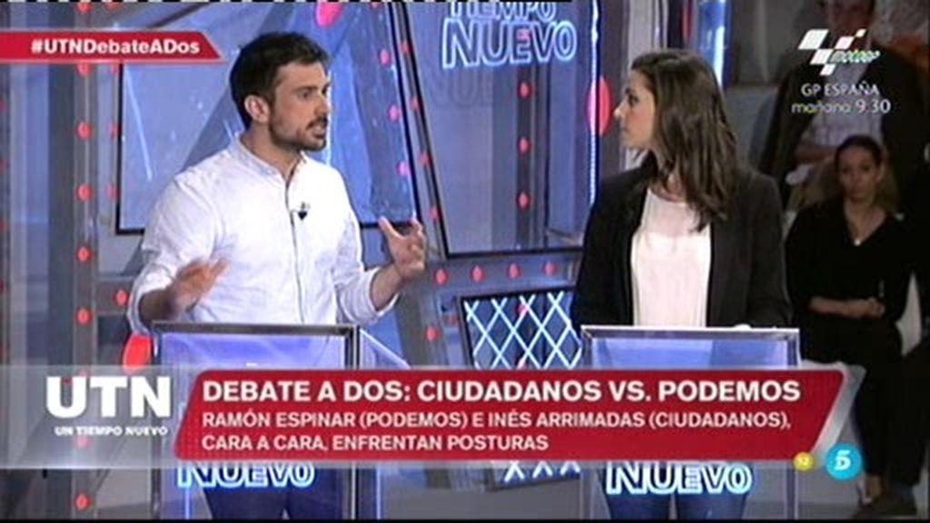 """Ramón Espinar, a Inés Arrimadas: """"Al final nos vamos a parecer al PP y al PSOE"""""""
