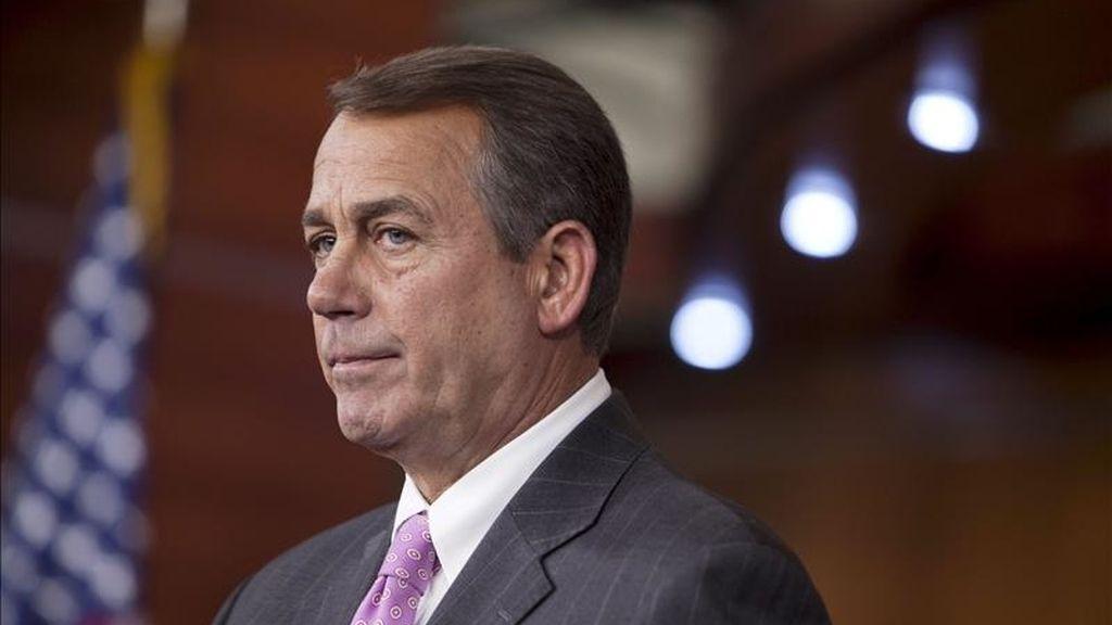 El presidente de la Cámara de Representantes de EEUU, John Boehner, comparece ante los medios, en el Capitolio en Washington, Estados Unidos. EFE