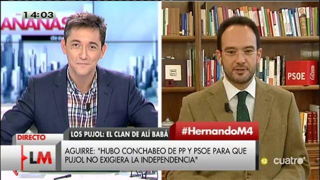 """Antonio Hernando, de Esperanza Aguirre: """"Seguramente es la dirigente del PP que más imputados ha llevado en las listas"""""""