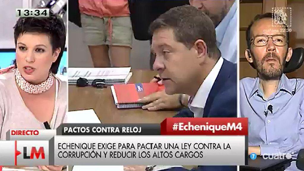 """Echenique, a Talegón: """"Como la mayor parte de la ciudadanía, no nos fiamos del PSOE"""""""