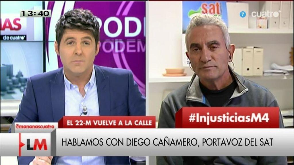 """Diego Cañamero: """"La ley mordaza es protegerse de los ciudadanos pacíficos"""""""
