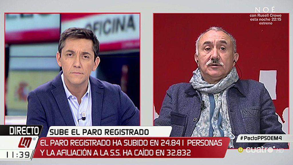 """José Álvarez, UGT: """"Con nosotros nadie ha contado para subir el salario mínimo"""""""
