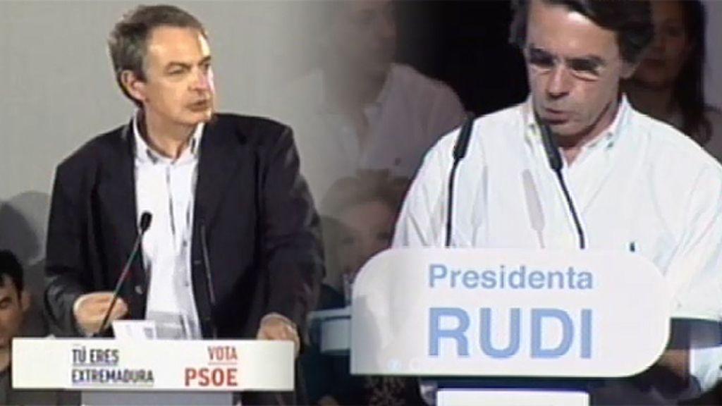 José María Aznar y José Luis Rodríguez Zapatero aparecen en campaña