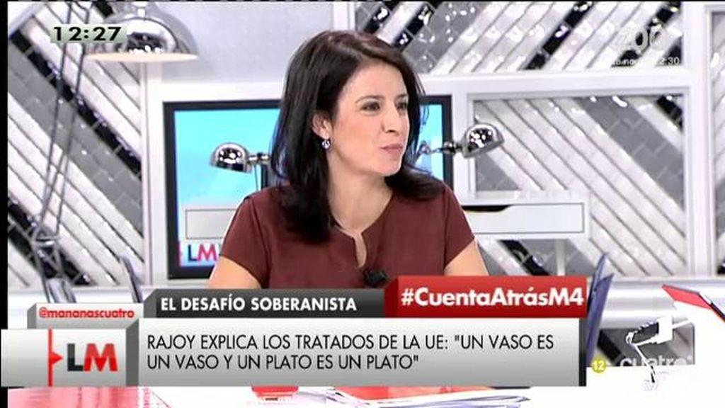"""Adriana Lastra, de las palabras de Rajoy: """"Llevan las cosas al reduccionismo absurdo"""""""