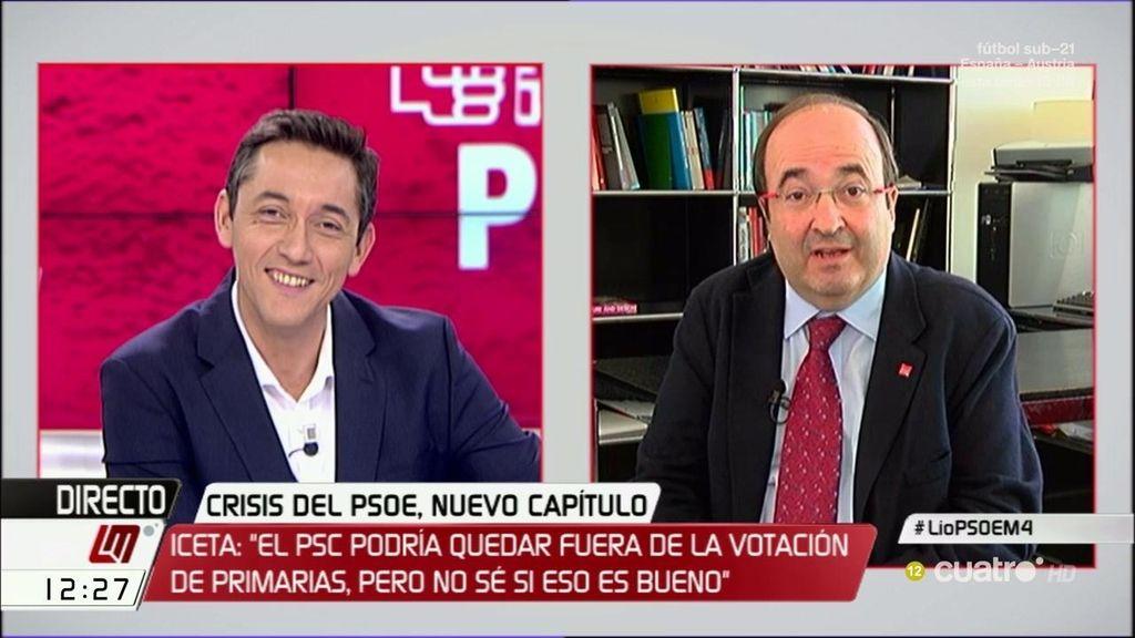 """Miquel Iceta habla sobre su relación con el PSOE: """"Pueden llevarse peor o mejor con el PSC, pero siguen siendo hermanos"""""""
