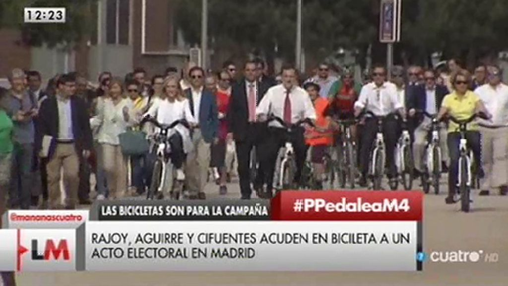 Mariano Rajoy, Cristina Cifuentes y Esperanza Aguirre, en bici en Madrid Río