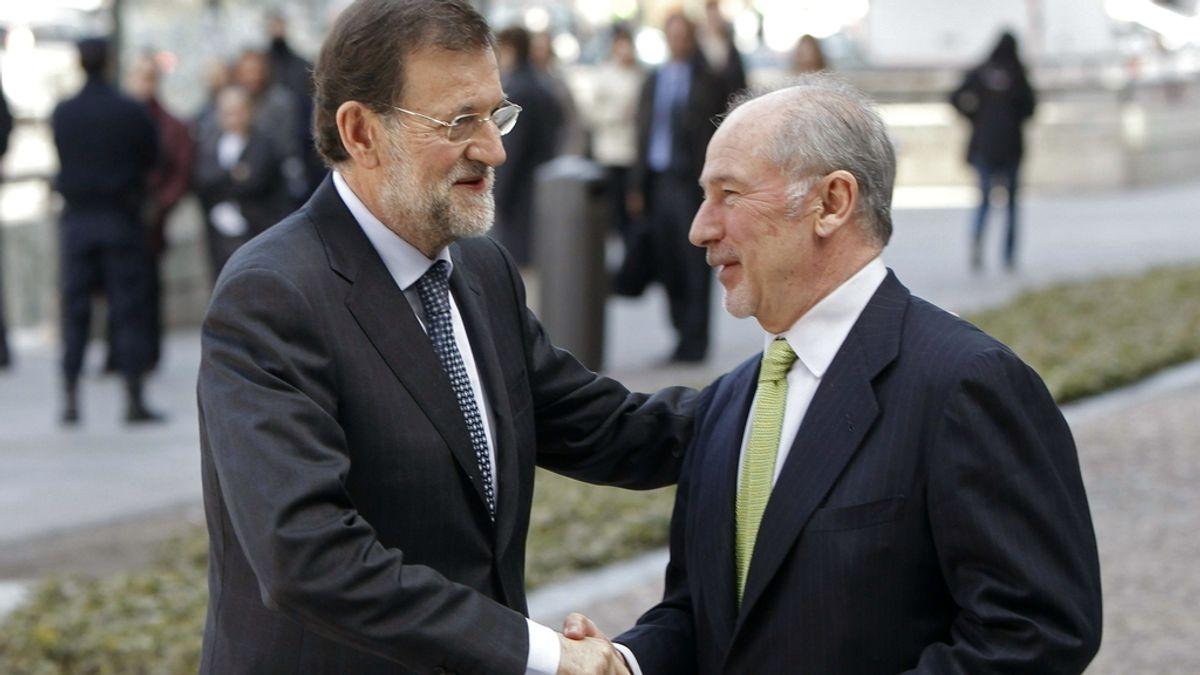 Mariano Rajoy es recibido por Rodrigo Rato