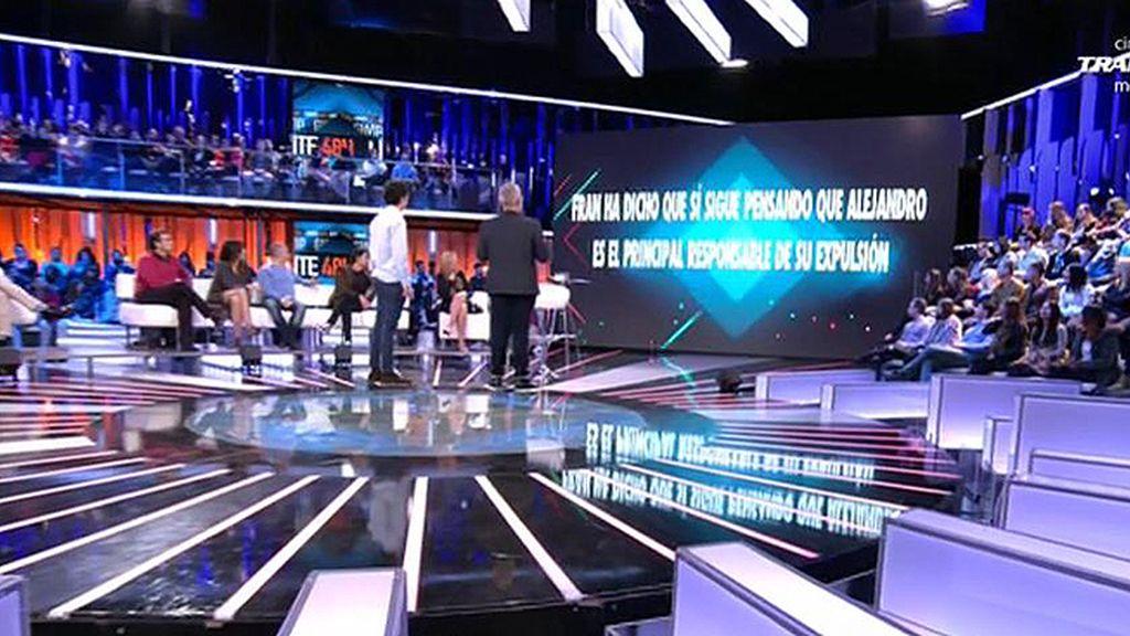 La audiencia cree que Fran Nicolás culpa a Alejandro de su expulsión