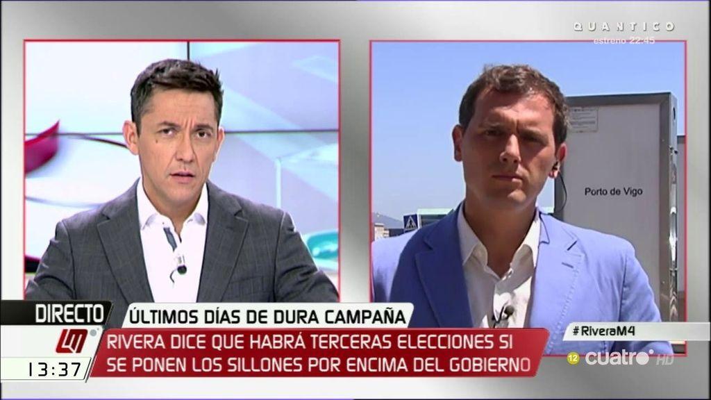 """Rivera: """"Si algunos ponen el sillón por delante de España, no descarte terceras elecciones"""""""