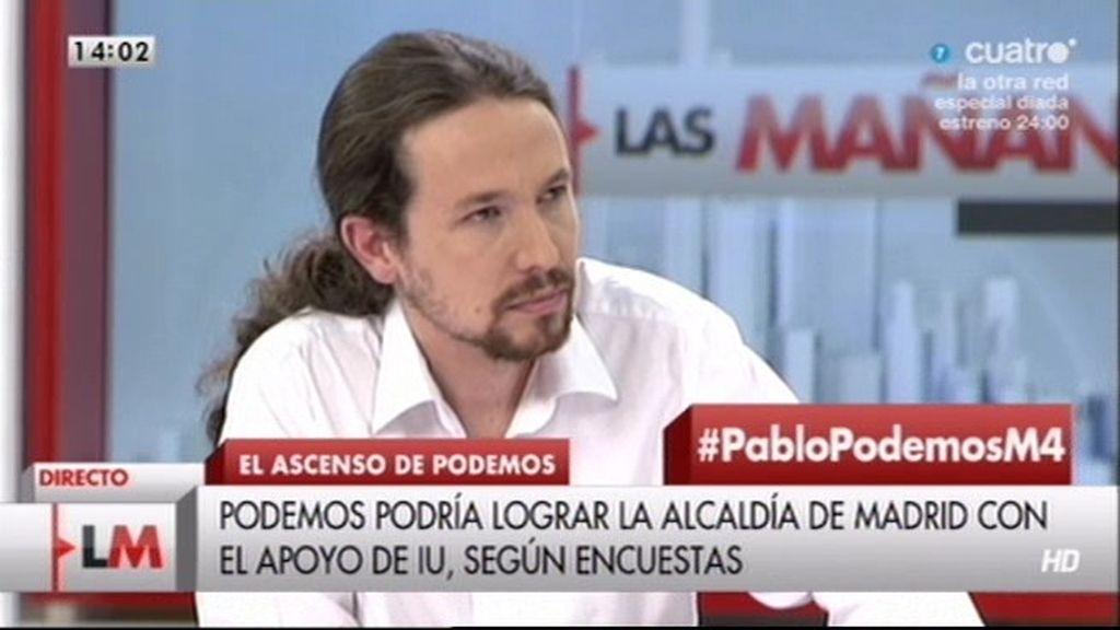 """Pablo Iglesias: """"Monedero sería un magnífico Alcalde para Madrid"""""""
