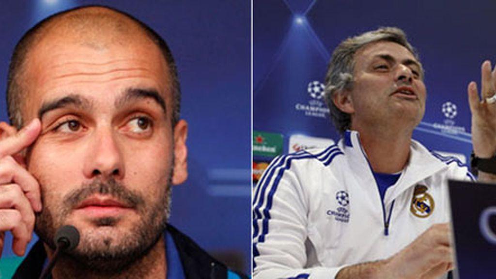 Pep y Mourinho, guerra de declaraciones cruzadas. Fotos: EFE