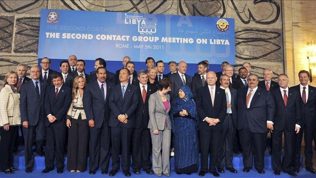 Foto de familia de los asistentes a la reunión del Grupo de Contacto sobre Libia, en Roma, Italia. EFE