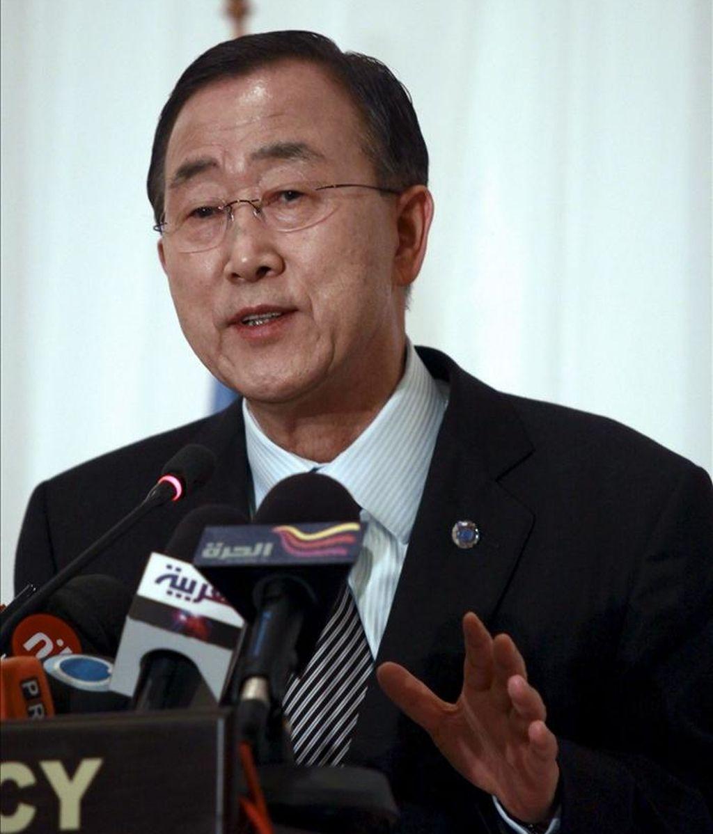 """El secretario general de la ONU, Ban Ki-moon, reiteró su llamamiento al Gobierno sirio """"para que cumpla con sus obligaciones internacionales de los derechos humanos"""". EFE/Archivo"""