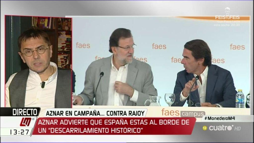"""Monedero, a Aznar: """"¡Cómo no vamos a descarrilar si se han llevado hasta los raíles!"""""""
