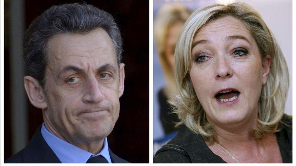 Combo fotográfico compuesto por una foto de archivo del presidente francés, Nicolas Sarkozy, y  Marine Le Pen, líder del partido de extrema derecha francés Frente Nacional. EFE/Archivo