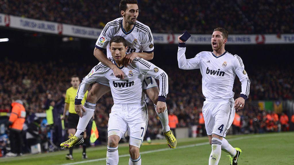 Sergio Ramos celebra el gol de Cristiano
