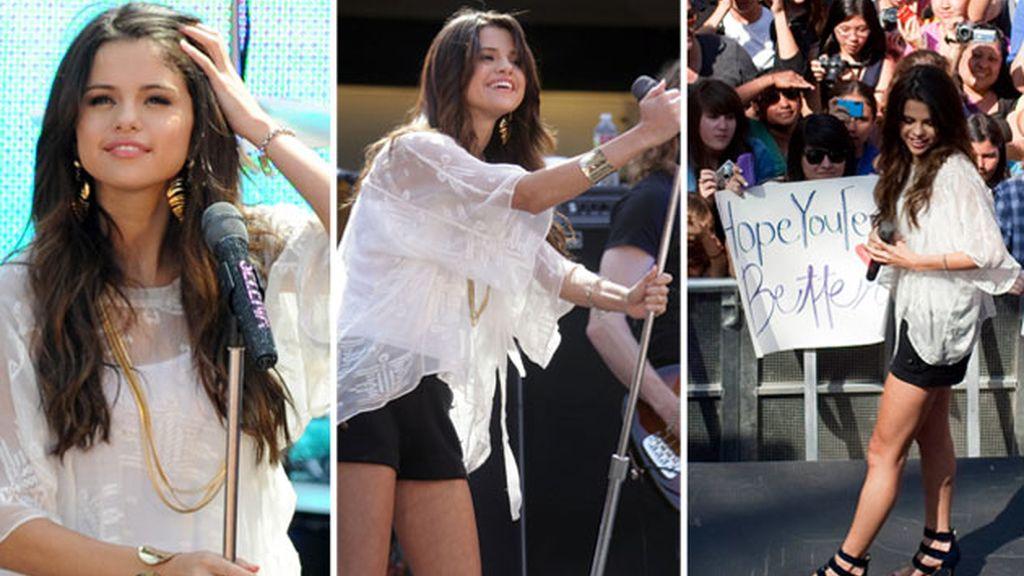 Selena Gómez durante el concierto en Santa Mónica. Fotos: GTres