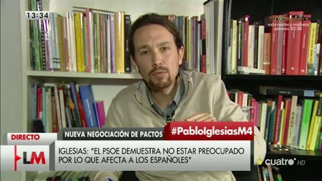 """Pablo Iglesias: """"Creo que el PSOE debería dejar de hacer teatro"""""""