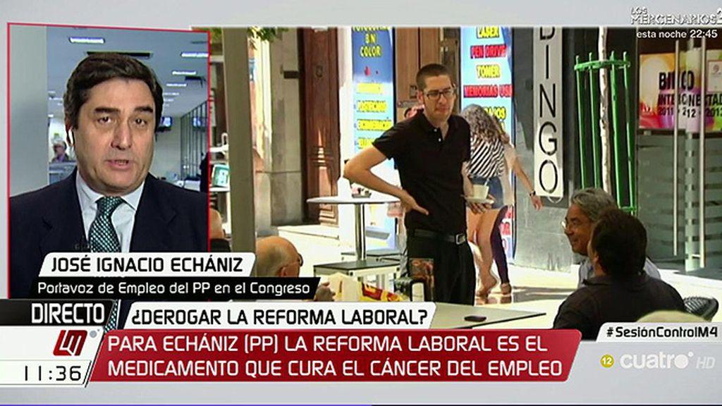 """Echániz (PP), de la reforma laboral: """"Se ha descubierto un nuevo medicamento que trata el cáncer del empleo"""""""
