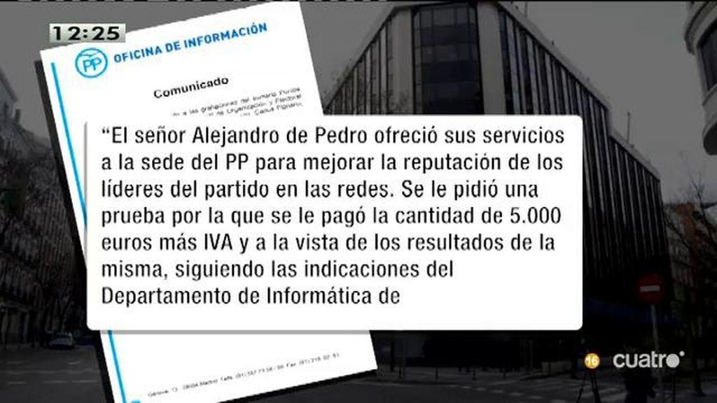 El PP explica que pagaron 5000 euros a De Pedro por una prueba